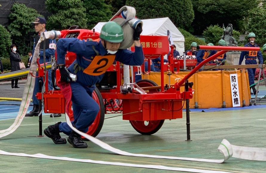 6月10日、渋谷消防団消防操法大会 年に一回、消防団が、練習を重ねスピードと操法を競う操法大会が開かれました。